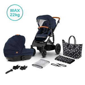 Kinderkraft Wózek głęboko spacerowy PRIME 2w1 deep navy + mommy bag