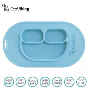 Eco Viking - Silikonowy talerz do jedzenia BLW 4 in 1 - Arctic Blue
